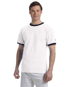 White/navy 5.2 oz. Tagless Ringer T-Shirt