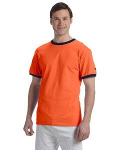 Orange/navy 5.2 oz. Tagless Ringer T-Shirt