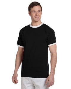 Black/white 5.2 oz. Tagless Ringer T-Shirt