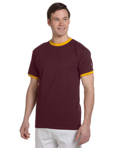 Maroon/c Gold 5.2 oz. Tagless Ringer T-Shirt