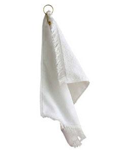 Silver Fringed Fingertip Towel With Corner Grommet and Hook