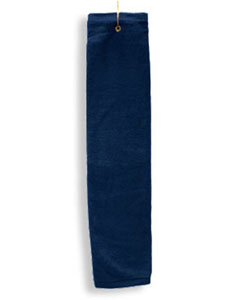 Navy Deluxe Tri-Fold Hemmed Hand Towel With Center Grommet and Hook