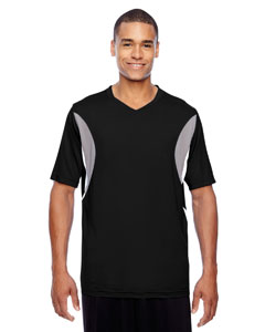 Black Men's Short-Sleeve Athletic V-Neck All Sport Jersey