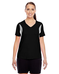 Black Ladies' Short-Sleeve V-Neck All Sport Jersey