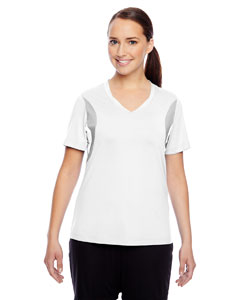 White Ladies' Short-Sleeve V-Neck All Sport Jersey
