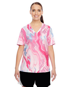 Sp Pink Swirl Ladies' Short-Sleeve V-Neck All Sport Sublimated Pink Swirl Jersey
