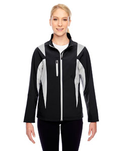 Black/sp Silver Ladies' Icon Colorblock Soft Shell Jacket