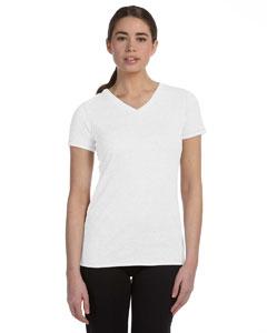 White Hthr Trblnd Women's Performance Triblend Short-Sleeve V-Neck T-Shirt