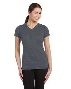 Grey Hthr Trblnd Women's Performance Triblend Short-Sleeve V-Neck T-Shirt