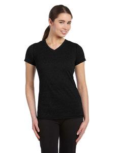Solid Black Trblnd Women's Performance Triblend Short-Sleeve V-Neck T-Shirt