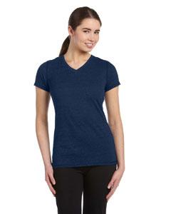 Navy Hthr Trblnd Women's Performance Triblend Short-Sleeve V-Neck T-Shirt