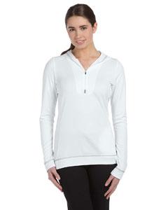 White/grey Women's 1/2 Zip Long-Sleeve Hoodie