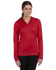 Red/slate Women's 1/2 Zip Long-Sleeve Hoodie
