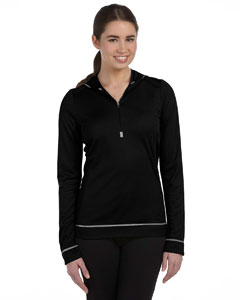Black/white Women's 1/2 Zip Long-Sleeve Hoodie
