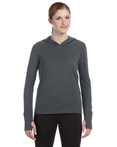 Grey Hthr Trblnd Ladies' Performance Triblend Long-Sleeve Hooded Pullover with Runner's Thumb