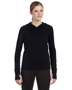 Solid Black Trblnd Ladies' Performance Triblend Long-Sleeve Hooded Pullover with Runner's Thumb