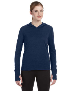 Navy Hthr Trblnd Ladies' Performance Triblend Long-Sleeve Hooded Pullover with Runner's Thumb
