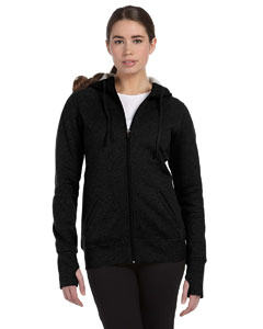 Black Women's Performance Fleece Full-Zip Hoodie with Runner's Thumb