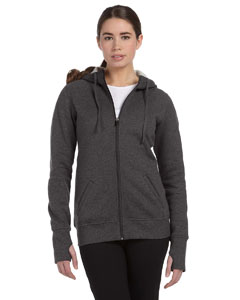Dk Grey Heather Women's Performance Fleece Full-Zip Hoodie with Runner's Thumb